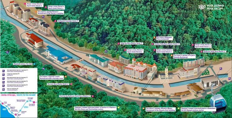 Карта нижней части курорта Роза-Хутор